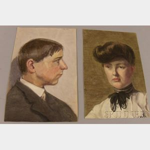 Lot of Eight Unframed Portrait Watercolors with Graphite on Paper by Mary Cable Butler (American, 1865-1946)