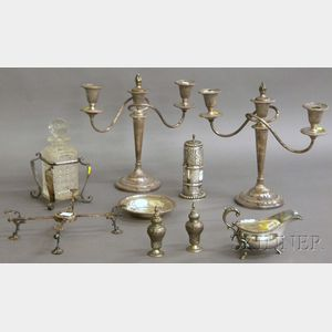 Nine Assorted Silver and Silver-plated Tableware Items