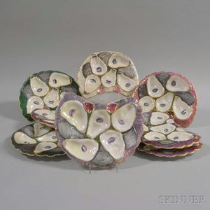 Set of Eight Porcelain Oyster Plates