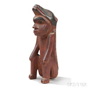 Northwest Coast Carved Wood Figure of a Shaman