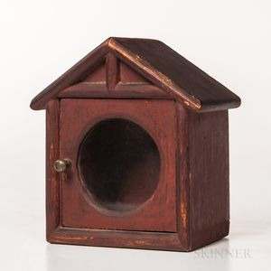 Red-painted Glazed House-form Watch Hutch