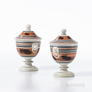 "Pair of Mocha ""Seaweed"" and Slip-decorated Pearlware Covered Urns"