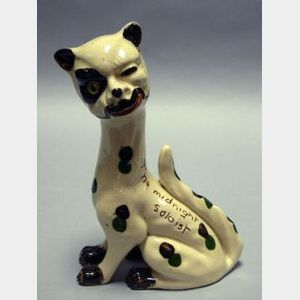 "Watcombe Motto Ware Spotted ""Winking Cat"" Figural with Glass Eye"