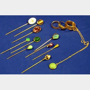Group of Seven 14kt Gold Stickpins and Two Rings
