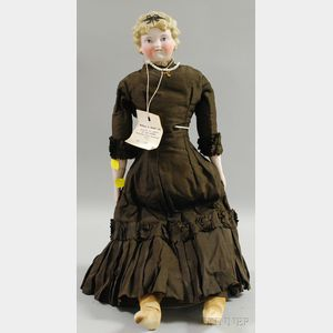 Large Blond Parian Doll with Molded Hair Bow