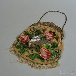 Polychrome Beaded Purse with German .800 Silver Frame