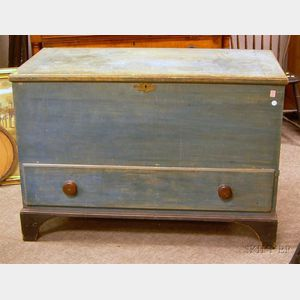 Blue-painted Dovetail-constructed Blanket Chest over Long Drawer.