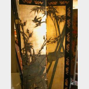 Chinese Six Panel Coromandel Floor Screen.