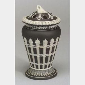 Wedgwood Black Jasper Dip Torches Vase and Cover