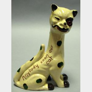 "Watcombe Motto Ware Spotted ""Winking Cat"" Figural with Amber Glass Eye"