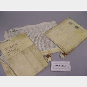 Approximately Thirty-five Indentures, Deeds and Documents on Vellum