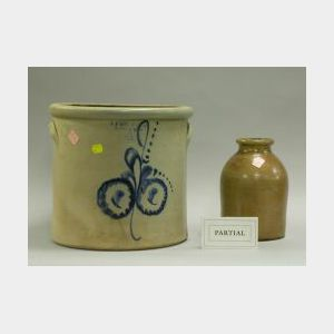 F. T. Wright & Son Floral Cobalt Decorated Stoneware Crock