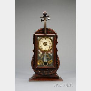 Walnut Violin Clock by Seth Thomas