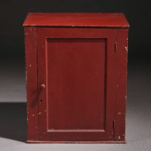 Shaker Red-painted Butternut and Pine Hanging Cupboard