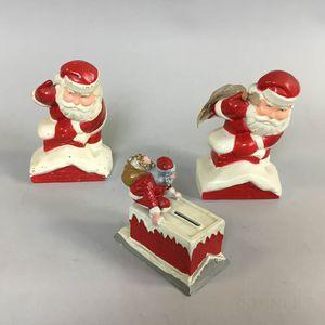 Three Cast Metal Santa Claus Still Banks
