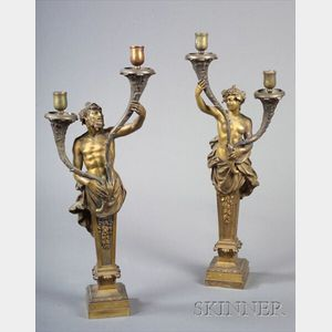 Pair of Empire-style Bronze Two Light Candelabra