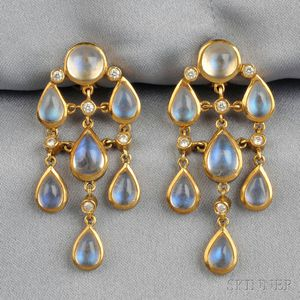 18kt Gold, Moonstone, and Diamond Earpendants, Temple St. Clair