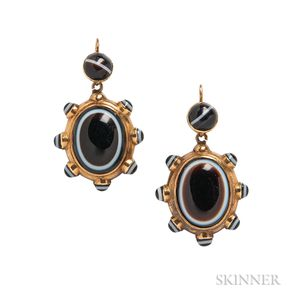Victorian Gold and Banded Agate Earrings