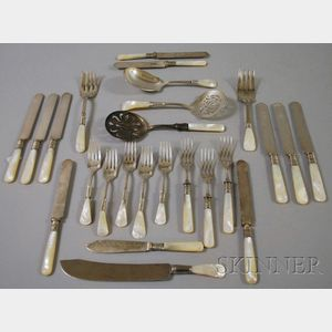 Approximately Twenty-five Assorted  Mother-of-pearl Flatware and Serving Items