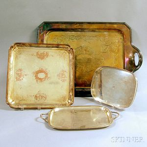 Four Silver-plated Serving Trays