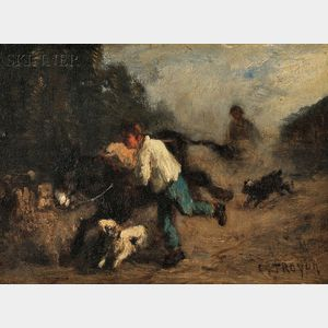 Constant Troyon (French, 1810-1865)      Boy with Donkey