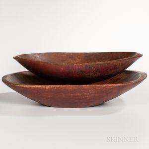 Two Large Red-painted Chopping Bowls