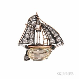 Antique Colored Diamond and Diamond Brooch