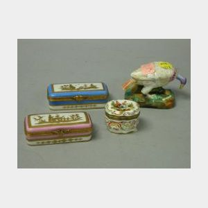 Four Small Continental Porcelain Boxes