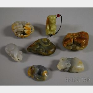 Seven Chinese Carved Jade Pendants and Figures