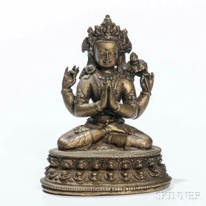 Bronze Figure of Four-armed Sadaksari Avalokitesvara