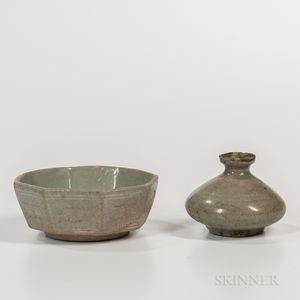 Two Celadon-glazed Items