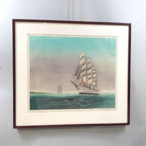 Framed Lithograph of a Ship
