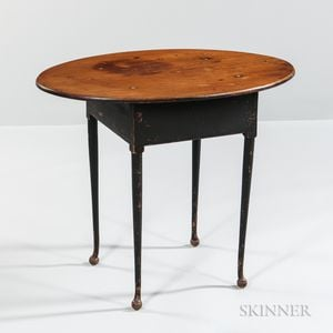 Black-painted Oval-top Tea Table