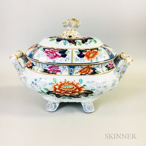English Transfer-decorated Ironstone Tureen