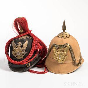 U.S. Model 1881 Artillery Dress Helmet, and a Model 1880 Summer Pattern Helmet