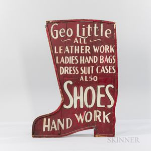 "Painted Double-sided Boot-form Trade Sign ""Geo Little,"""