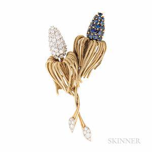 Sapphire and Diamond Flower Brooch