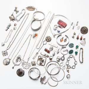 Group of Silver and Silver-plated Jewelry