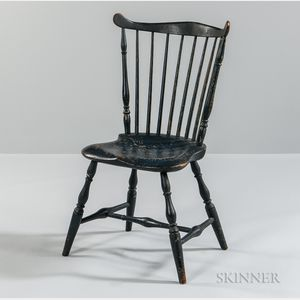Blue-painted Fan-back Windsor Side Chair