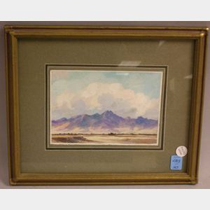 Framed Gouache on Paper View of Santa Fe