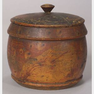 Putty Decorated Treen Covered Jar