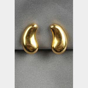 "18kt Gold ""Bean"" Earclips, Elsa Peretti, Tiffany & Co."