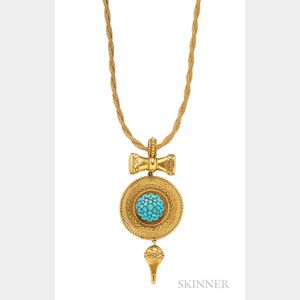 Victorian Gold and Turquoise Pendant