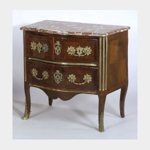 French Regence Brass Mounted Kingwood and Marble-top Commode
