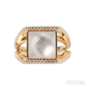 18kt Gold, Quartz, and Diamond Ring, Temple St. Clair
