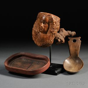 Figural Carved Burl Pipe, Carved Wooden Spoon, and a Painted Wooden Dish
