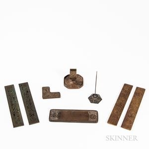 Six Tiffany Studios Desk Items and Two Other Desk Items