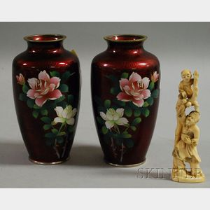 Japanese Ivory Carving of a Man and a Child Climbing a Tree and a Pair of Asian   Cloisonne Vase
