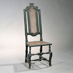 Baroque Black-painted and Carved Cane Chair