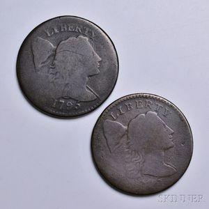 Two 1795 Plain Edge Liberty Cap Large Cents